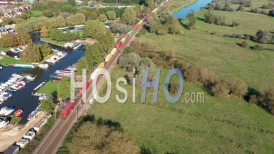 Goods Trains In Ely Filmed By Drone Point Of View