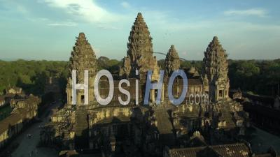 Temple Of Angkor Wat, Cambodia  - Drone Point Of View