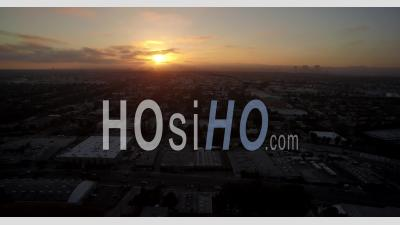 Aerial View Of Los Angeles City And West Hollywood At Sunset - Video Drone Footage
