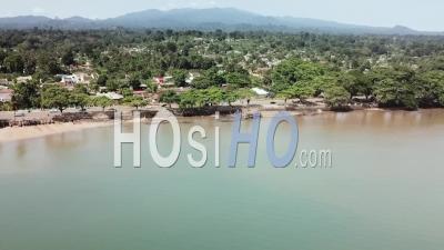 Sao Tome City Traffic Along The Coast - Video Drone Footage