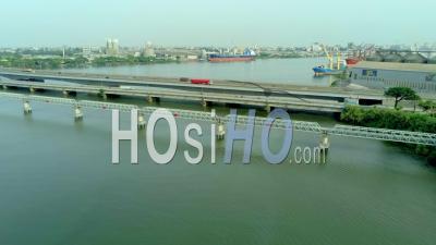 Douala Bridge And Port - Video Drone Footage