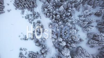 Road With Car In Winter, France, Video Drone Footage