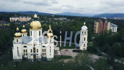 Orthodox Church In Dolyna, Ukraine, Video Drone Footage
