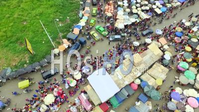 Over Umbrellas Of The Central Market, Douala - Video Drone Footage