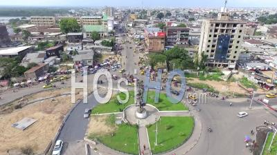 Douala's 'rond Point' Round About Statue - Video Drone Footage