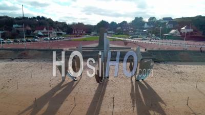 Omaha Beach In Colleville Sur Mer, Normandy, France - Video Drone Footage