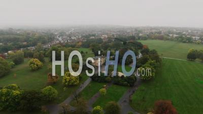 Aerial Orbit View Of Brockwell Park With A Typical Victorian Village In Brixton, South London - Video Drone Footage