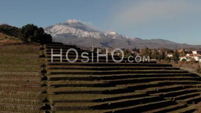 Vue Aérienne Ascendante D'un Vignoble Sur Un Petit Cratère Révélant Le Mont Etna En Sicile (italie) - Vidéo Drone