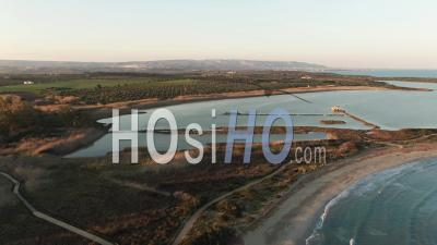 Aerial View Of The Nature Reserve Of Vendicari On The East Coast Of Sicily - Video Drone Footage