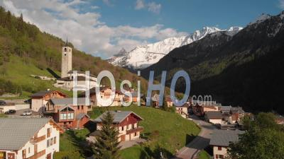 Peisey-Nancroix Village In The Alps - Video Drone Footage