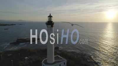 Biarritz City And Lighthouse, France - Video Drone Footage