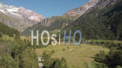 Rosuel Valley Near Vanoise National Park At Summer Season - Video Drone Footage