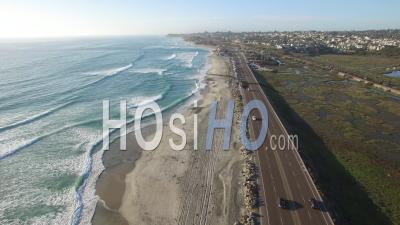 Aerial View Over The Pacific Ocean Near San Diego - Video Drone Footage