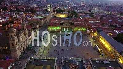 Aerial View Over Downtown Bogota, Columbia And Catholic Church Cathedral Primada On Plaza Bolivar - Video Drone Footage