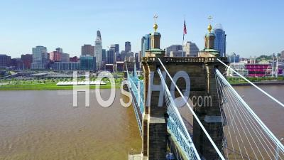 Aerial View Of Cincinnati Ohio With Bridge Crossing The Ohio River Foreground - Video Drone Footage