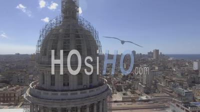 Aerial View Around The Capital Dome Reveals The City Of Havana, Cuba - Video Drone Footage