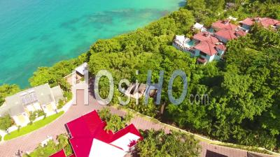Aerial View Of The Caribbean Island Of St. Lucia With Hotels, Resorts, Condos And Luxury Homes - Video Drone Footage