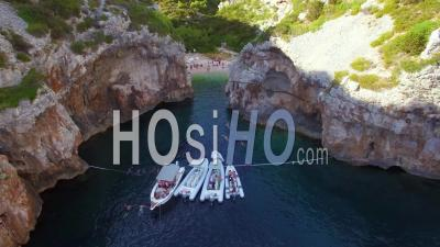 Aerial View Over A Beautiful Cove And Isolated Secluded Remote Beach On The Adriatic Coast Of Croatia - Video Drone Footage
