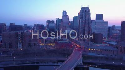 Aerial View Of Downtown Minneapolis, Minnesota At Night - Video Drone Footage