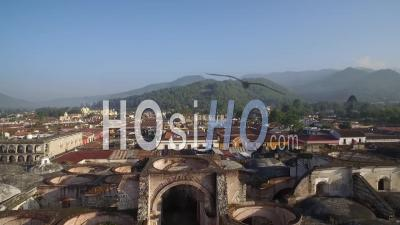 Aerial View Over The Colonial Central American City Of Antigua, Guatemala - Drone Point Of View
