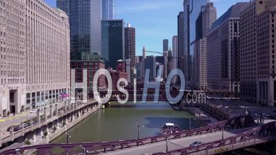 Aerial View Over The Chicago River In Downtown Chicago - Drone Point Of View