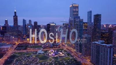 Aerial View Of Chicago Illinois Downtown City At Night - Drone Point Of View