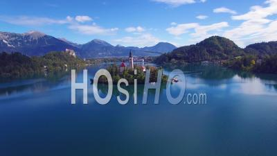 Aerial View Over Lake Bled And Castle, Slovenia - Drone Point Of View