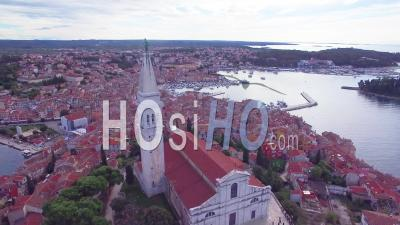 Aerial View Of The Town Of Rovinj In Croatia - Drone Point Of View
