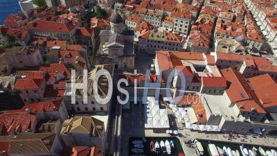 Aerial View Over The Old City Of Dubrovnik, Croatia - Video Drone Footage