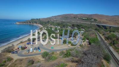 Aerial View Along The California Coastline At Refugio State Beach Near Santa Barbara - Video Drone Footage