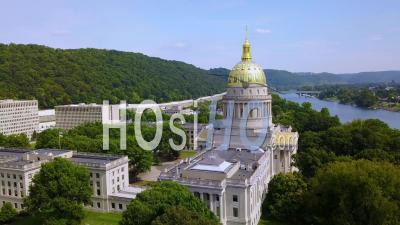 Aerial View Of The Capital Building In Charleston, West Virginia - Drone Point Of View