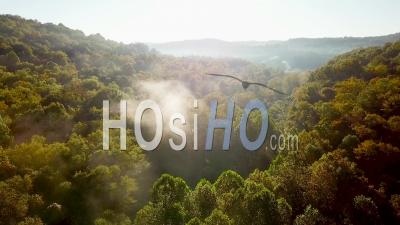 Early Morning Aerial View Of Fog In Appalachia West Virginia - Drone Point Of View