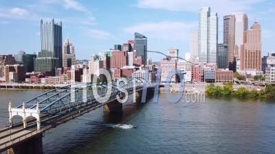 Aerial View Over Pittsburgh, Pennsylvania Downtown Skyline - Video Drone Footage