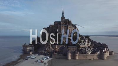 Mont Saint-Michel, Normandy, France, Drone Point Of View