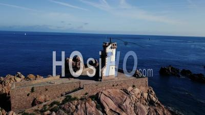 Paon Lighthouse, Brehat Island, Britain, France, Video Drone Footage