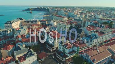 Biarritz City In The Morning - Drone Point Of View