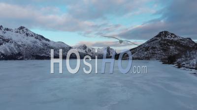 Frozen Lake In The Lofoten Islands - Video Drone Footage