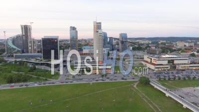 Vilnius, Lithuania Aerial View Of Cityscape At Sunset - Drone Point Of View