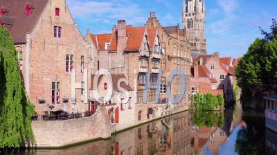 Aerial View Of Bruges Belgium Includes Belfort Van Brugge And Other Downtown Landmarks - Video Drone Footage