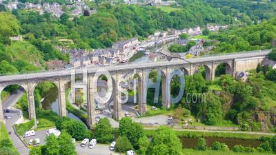 Aerial View Over The Pretty Town Of Dinan, France With Highway Bridge - Video Drone Footage