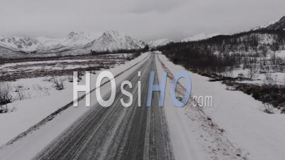 Aerial View Over A Frozen Road In The Desertic Laponie