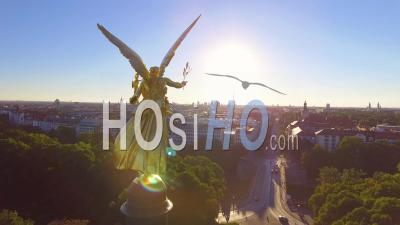 Aerial View Around The Beautiful Golden Angel Of Peace, Maximillian Park In The Munich Germany Suburb Of Bogenhausen - Video Drone Footage