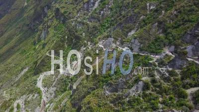 Aerial View Stairs Staircase Down To Quilotoa, Ecuador Caldera In The Andes Mountains - Video Drone Footage