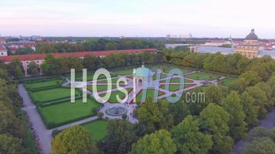 Aerial View Over Hofgarten Park With Pattern Walkways In Munich, Bavaria, Germany - Video Drone Footage