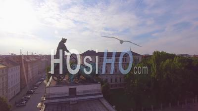 Aerial View Over The Siegestor Victory Arch In Munich, Bavaria, Germany - Video Drone Footage