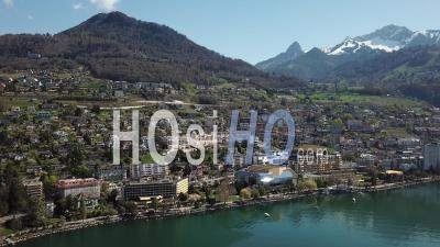 City Of Montreux And The Swiss Riviera - Video Drone Footage