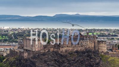 Establishing Aerial View Of Edinburgh, Edinburgh Castle, United Kingdom - Video Drone Footage