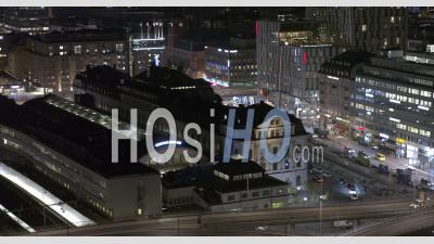 Lit Up City Centralstation At Night In Stockholm Sweden, Drone View