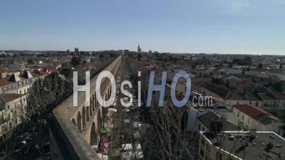 Aerial View Of The Arceaux In Montpellier Downtown, Filmed By Drone In Winter