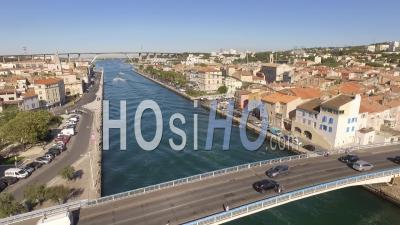 Bridge Of Martigues Downtown In Summer, France - Drone Point Of View